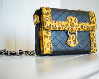 Handbag / 100% genuine leather / black and leopard.