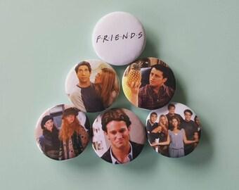 Set of 6 Friends Pinback Buttons