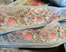 French Floral Jacquard Ribbon, Blue Background with Pink ombre and Green Florals, 1 1/2 inches wide
