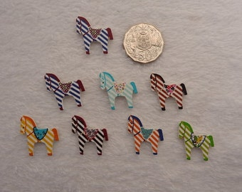horse, pony wooden buttons set of 8