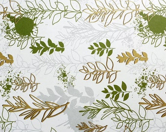 Plants Wrapping Paper -Spring Time/Gold Embossed/Green Leaves/Sparkly/High Quality/Holiday Gift Wrap/Shining Wrapping Paper/Nature Lover/
