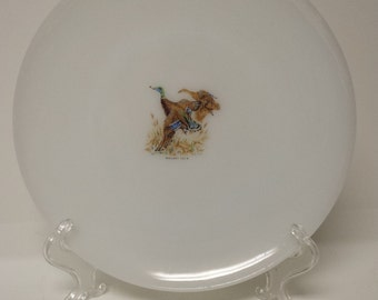 Fire King Dinner Plate with Mallard Duck; Oven Ware; Made in USA