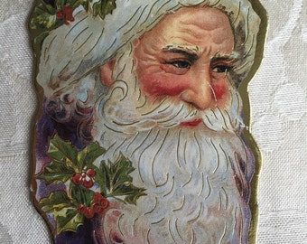 Vintage Christmas tree ornament, cardboard Santa Claus, 1986 Christmas Reproductions Inc., Free First Class Shipping!