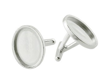 Sterling Silver Cufflink Base Pair . (2) .925 Cuff Link Backs with 16 x 12mm Oval Bezel Mounting