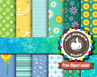 """Spring Digital Paper : """"SPRING Digital Paper""""-  Spring Blooming Flower ClipArt, Digital Scrapbook Paper, Party Printable, Commercial Use"""
