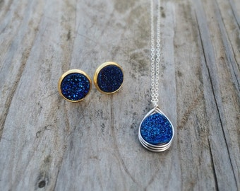 Midnight Blue Druzy Teardrop Necklace | Quality Gold Filled, Sterling Silver or Rose Gold Filled Chain | Genuine Agate Druzy