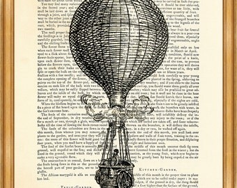HOT AIR BALLOON Black n White Hot Air Balloon Voyage Illustration Vintage Dictionary Art Page 8'' x 10'' from up-cycled book