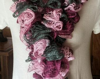 Ruffle Scarf - Pink, Mauve & Gray