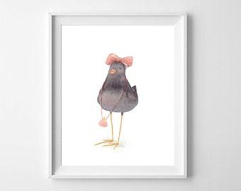 Bird Nursery Art,Girls Nursery Art,Bird Nursery,Bird Girls Room Art,Cute Bird Kids Art,Bird Nursery decor,Bird Nursery Art Bird Kids Art