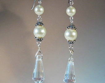 Bridal Earrings Sterling Silver Swarovski Pearls AB Crystals