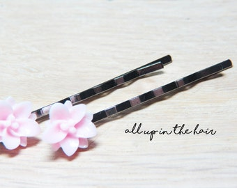 Flower Bobby Pins - Pink Lily Bobby Pins - Pink Hair Slides - Flower Hair Slides