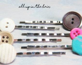 Bobby Pin Set - Button Bobby Pins - Vintage Button Bobby Pins - Hair Pins - Neutral Bobby Pins - Christmas Gift - Stocking Stuffer