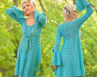 Sexy crochet dress PATTERN, crochet boho dress with square motifs PATTERN, CHART and basic instructions in English, chart rows not written!