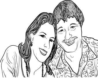 Couple Portrait- Custom Line Art Vector Illustration