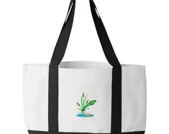 Jumping Frog Tote Bag. Embroidered Frog Tote. Frog Tote Bag. Jumping Frog Tote Bag.  7002