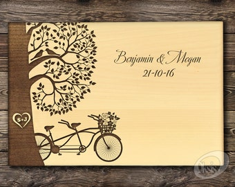 Cutting Board Wedding gift Tandem Bike Love Birds Personalized Wedding Gift Established Family Anniversary gift Gift for couple