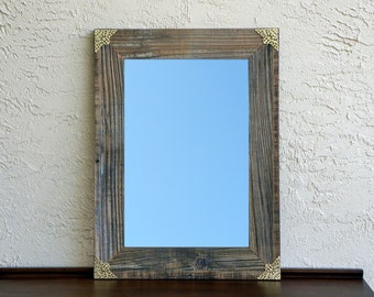 Reclaimed Wood Mirror with Gold Filigree Corners. Rustic Decor. Eco Friendly. Large Mirror. Framed Mirror. Modern Mirror. Rustic Mirror. L