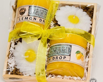 LemonDrop Candle Gift Crate with Daisy Floating Candles