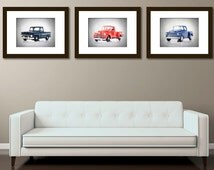 Discount set of 3 chevy pickup photo print,boys room decor,nursery decor,car room decor,boys room wall art,car wall decor,men of cave