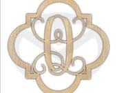 Custom Wood Quatrefoil Initial Laser Cut, Various Sizes, Unfinished, Home Decor, Wedding Gift, Door Hanger, Ready to paint