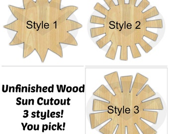 Unfinished Wood Sun Laser Cutout, Wreath Accent, Door Hanger, Ready to Paint & Personalize, Various Shapes and Sizes