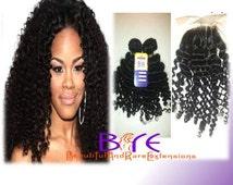 "Virgin Hair Bundles + Matching 12"" Lace Closure/Two Bundles Deep Curly  Hair + Closure/ Virgin Hair Extensions"