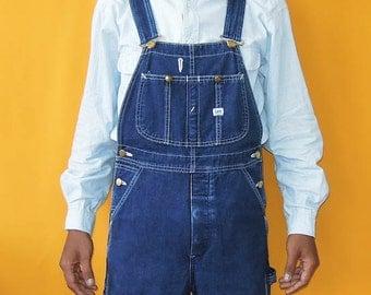 Lee Overall Sanforized Denim Vintage 60s Style Dark Wash Heavy Cotton Bib Railroad Work Wear (04/05)