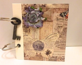 small handmade memory keeper book - vintage style papers