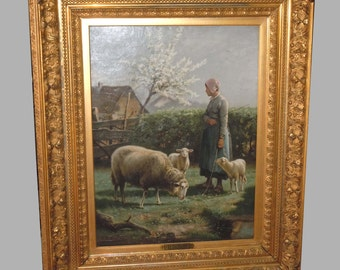 19th Century Belgium Oil Painting H. D Beul Shepherdess With Sheep in Landcape
