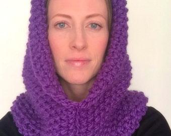 Hooded cowl, Purple hood, Knitted hood, Purple winter hood, Purple cowl, Winter hat, Knit hat, Gift for women