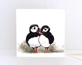 Puffins, seabirds, couple, Scottish seabirds- Greeting Card