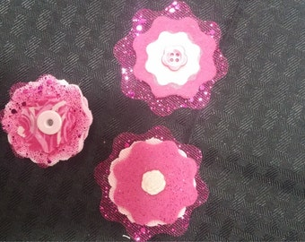 scrapbook flower embellishments pk of 3