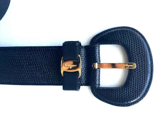 ... Ferragamo ladies belt, black leather belt, belt with gold clasp