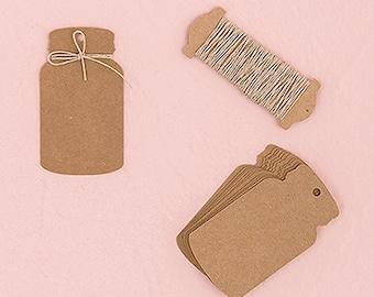 Kraft Paper Mason Jar Favor Tags (Pack of 12) Rustic Wedding Favors