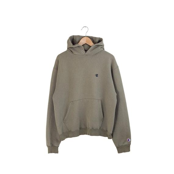 OLIVE CHAMPION HOODIE / distressed olive green hoodie / olive