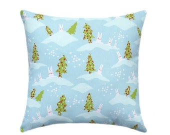 Holiday Pillow - Aqua Green Red Pillow Cover - Blue Pillow - Bunnies Holiday Decorative Pillow Cover - Holiday Accent Pillow -Christmas tre