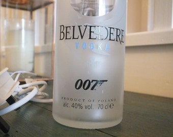 Belvedere Vodka 007 Bottle (upcycled) Table Lamp  with  Lamp Shade - 3amp UK Electrical Plug with on/off switch.