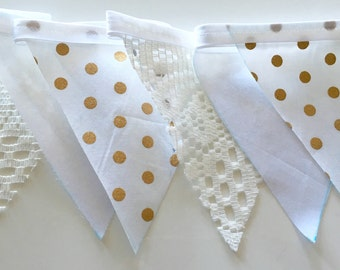 Gold polka dot and lace vintage wedding fabric bunting flags