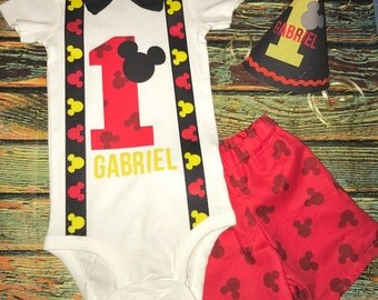 Custom Personalized Smash Cake Mickey Mouse Birthday Outfit with Hat
