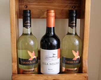 WINE Crate Wine Gift Worktop Wine Storage 3 Bottle Wine Rack Handmade from Re Claimed Wood Stained & Waxed Light or Dark Wine Lovers Gift