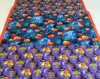 Halloween hanging decoration - Halloween decor- Pumpkins and Witches- Blue Fabric- Sale Item - Unique Halloween Decoration