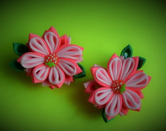 Gorgeous handmade kanzashi girls toddler baby hair clips bows.Grosgrain ribbon red rose pink green.Hair accessory.
