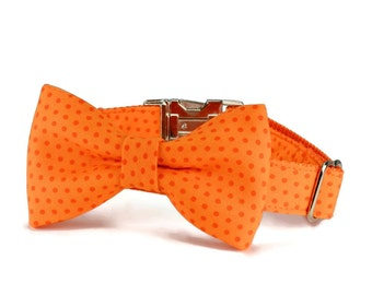 Citrus Orange Polka Dot Dog Bow Tie Collar, Bow Tie Dog Collar, Orange Bow For Dog, Dog Bowtie Collar, Bowtie Dog Collar, With Metal Buckle