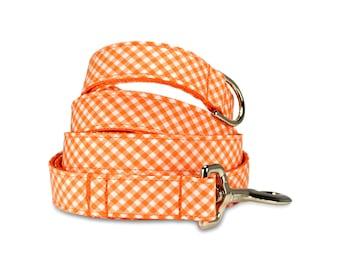 Orange Gingham Dog Leash, Orange Dog Leash, Preppy Leash, Gingham Dog Leash, Female Dog Leash, Gingham Dog Leash, Preppy Dog Leash,