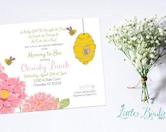 Bee & Beehive Baby Shower Invitation - Girl
