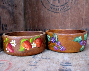 Pair Of Wood Bowls - Alper Woodenware - Vintage Wood Bowl - Hand Carved Wood - Rustic Bowl - Serving Bowl - Rustic Decor - Treen Bowl