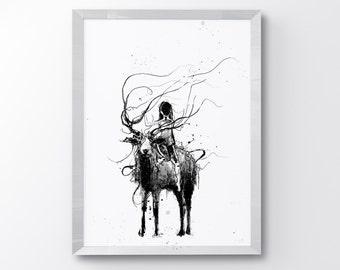 Girl & Deer, Fantasy Art, Fairy Tale, Art Print, Deer Art, Black Deer, Animal Art, Black And White Art, Friendship, Home Decor, Ink Art