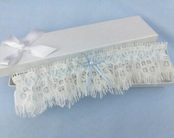Ivory eyelash lace garter, wedding garter, lace garter, pearl garter, something blue garter