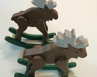 Wooden Rocking Moose