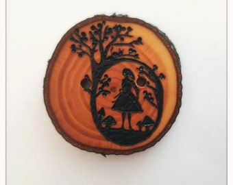 Made to order Alice in Wonderland wood burned buttons